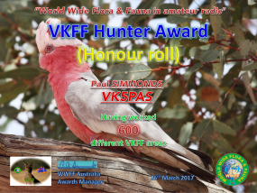 VK5PAS VKFF Hunter Honour Roll 600