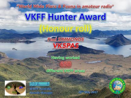 VK5PAS VKFF Hunter Honour Roll 650