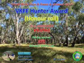 VK5PAS VKFF Hunter Honour Roll 675