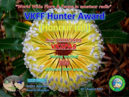 VK5PAS VKFF Hunter Honour Roll 700