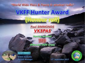 VK5PAS VKFF Hunter Honour Roll 725