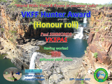VK5PAS VKFF Hunter Honour Roll 775