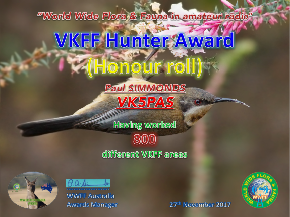 VK5PAS VKFF Hunter Honour Roll 800
