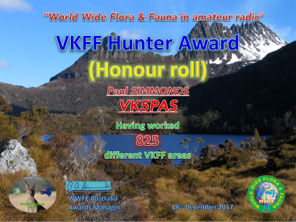 VK5PAS VKFF Hunter Honour Roll 825