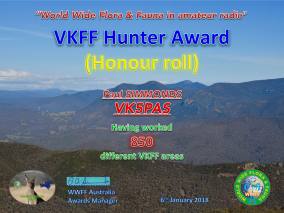 VK5PAS VKFF Hunter Honour Roll 850