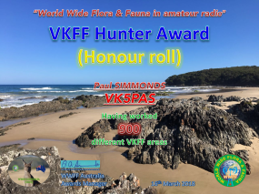 VK5PAS VKFF Hunter Honour Roll 900