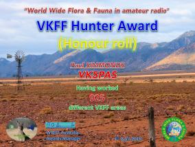 VK5PAS VKFF Hunter Honour Roll 925