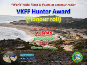 VK5PAS VKFF Hunter Honour Roll 975