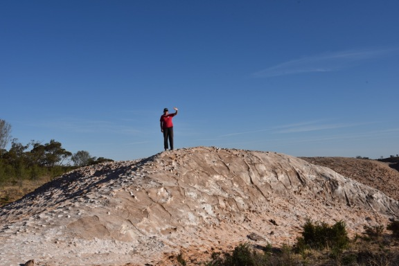 Marija on top of an abandoned stockpile of salt
