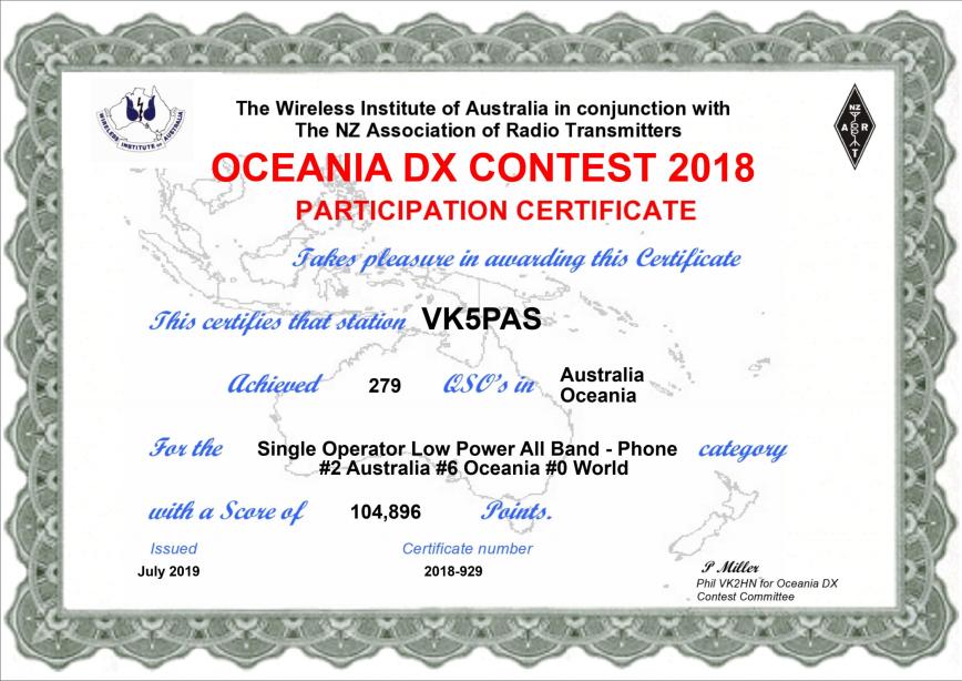 VK5PAS 2018 Oceania DX Contest