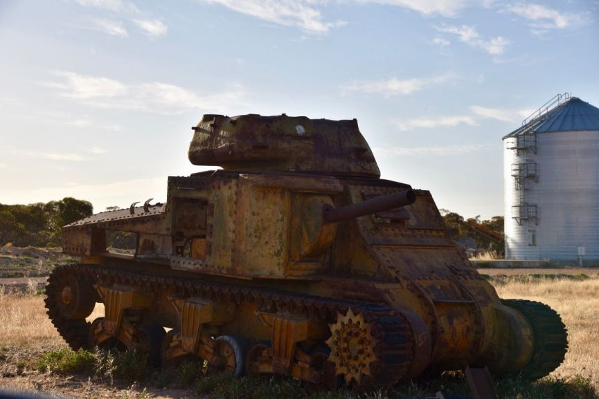 An old army tank in Murrayville