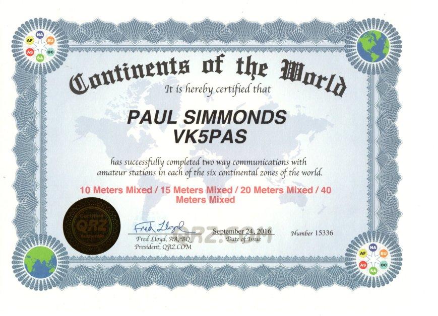 VK5PAS QRZ.com Continents Award
