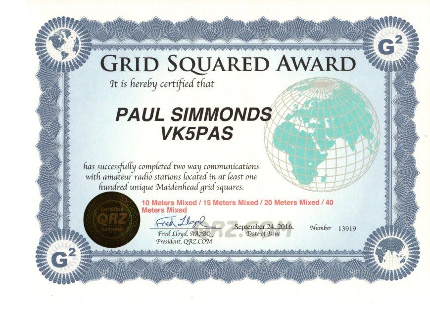 VK5PAS QRZ.com Grid Square Award