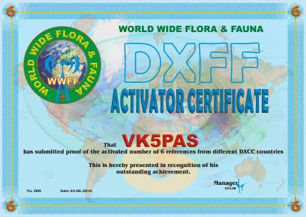 DXFF A6 VK5PAS