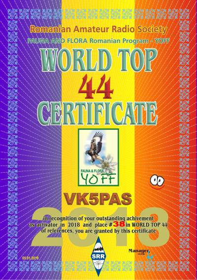 VK5PAS CERTIFICAT top 44 2018 reference