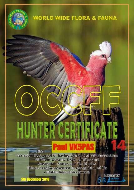 VK5PAS Diploma OCCFF Hunter 14