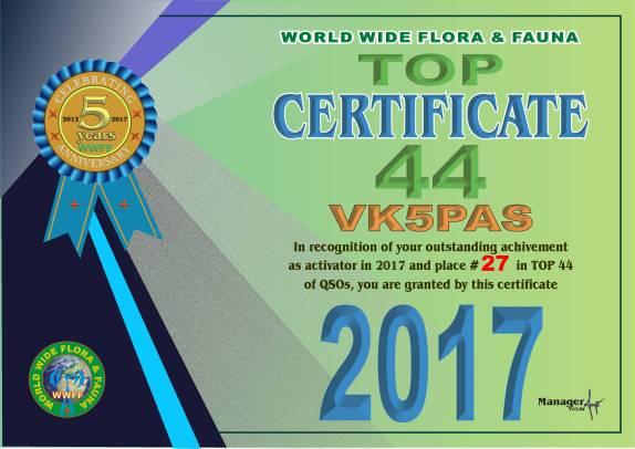 VK5PAS TOP 44 2017 QSO