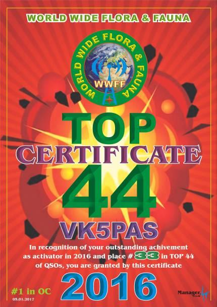 VK5PAS Top Activator 2016-QSOs