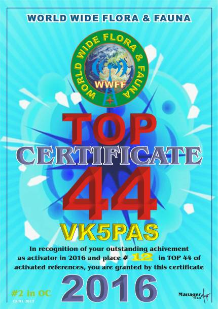 VK5PAS Top Activator 2016-References