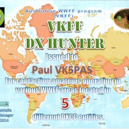 VK5PAS VKFF DX Hunter 5