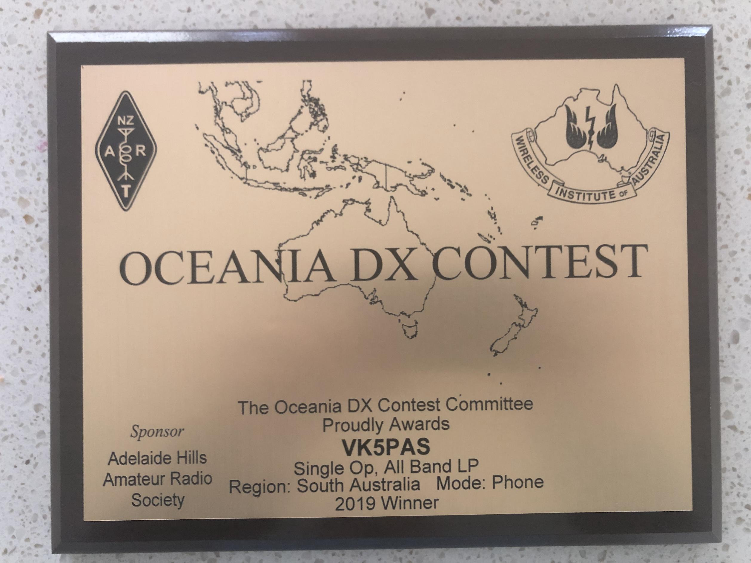 2019 Oceania plaque